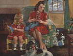 Calendar Illustration of Mother and Daughter Knitting Wall Art & Canvas Prints by Lisa Graa Jensen