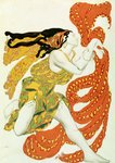 Costume Design for a Bacchante by Leon Bakst in Narcisse Postcards, Greetings Cards, Art Prints, Canvas, Framed Pictures, T-shirts & Wall Art by French School