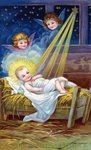 Loving Christmas Wishes Postcard with Christ Child in Manger Postcards, Greetings Cards, Art Prints, Canvas, Framed Pictures, T-shirts & Wall Art by Anonymous