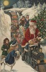 Christmas Postcard with Santa Riding a Train with Toys Postcards, Greetings Cards, Art Prints, Canvas, Framed Pictures, T-shirts & Wall Art by Maria Konstantinova Bashkirtseva
