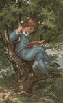 Postcard of Boy Reading in Tree Postcards, Greetings Cards, Art Prints, Canvas, Framed Pictures, T-shirts & Wall Art by Charles Edmund Brock