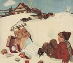 Illustration of Boy and Groceries Falling Off Sled Postcards, Greetings Cards, Art Prints, Canvas, Framed Pictures, T-shirts & Wall Art by Gustave Courbet