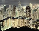 Hong Kong skyscrapers and apartment blocks at night Postcards, Greetings Cards, Art Prints, Canvas, Framed Pictures, T-shirts & Wall Art by Assaf Frank