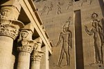 Ancient Egyptian hieroglyphics at ruins in Aswan Wall Art & Canvas Prints by William James Muller