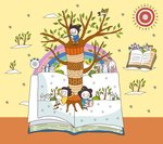 Children on open book by tree trunk Postcards, Greetings Cards, Art Prints, Canvas, Framed Pictures, T-shirts & Wall Art by Anne & Johnstone, Janet Johnstone