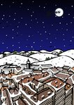 High angle view of snow covered houses in a town and silhouette of reindeers over moon in the sky at night Postcards, Greetings Cards, Art Prints, Canvas, Framed Pictures, T-shirts & Wall Art by Kestutis Kasparavicius
