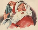 Santa Claus filling Christmas stocking Postcards, Greetings Cards, Art Prints, Canvas, Framed Pictures, T-shirts & Wall Art by Stanley Cooke