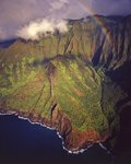 Aerial view of Na Pali coast Wall Art & Canvas Prints by Ted Blackall