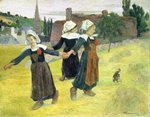 Breton Girls Dancing, Pont-Aven Postcards, Greetings Cards, Art Prints, Canvas, Framed Pictures, T-shirts & Wall Art by Paul Gauguin