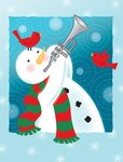 A happy snowman playing the trumpet Postcards, Greetings Cards, Art Prints, Canvas, Framed Pictures, T-shirts & Wall Art by Jacob Sutton