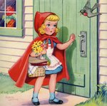 Little Red Riding Hood arriving at grandmother's house Postcards, Greetings Cards, Art Prints, Canvas, Framed Pictures, T-shirts & Wall Art by Isabel Oakley Naftel