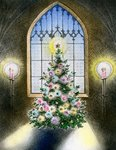 Vintage Illustration of Christmas Tree by a Church Window. Postcards, Greetings Cards, Art Prints, Canvas, Framed Pictures, T-shirts & Wall Art by Judy Joel