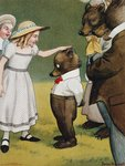 Illustration Depicting a Girl Patting a Little Bear Postcards, Greetings Cards, Art Prints, Canvas, Framed Pictures & Wall Art by Sydney Prior Hall