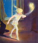 Book Illustration of Peter Pan Tiptoeing with Tinkerbell Wall Art & Canvas Prints by Radi Nedelchev