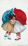 Postcard of Two Little Girls Kissing under Umbrellas Postcards, Greetings Cards, Art Prints, Canvas, Framed Pictures, T-shirts & Wall Art by Eugene Carriere