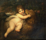 Portrait of the Hon. William Lamb Later 2nd Viscount Melbourne, as a Child, Playing with a Dog in a Mountainous Wooded Landscape Wall Art & Canvas Prints by Janet and Anne Johnstone