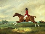 """Portrait of George Payne of Sulby on His Chestnut Hunter, """"The Clipper"""" with the Pytchley at Full Cry Wall Art & Canvas Prints by John Frederick Herring Snr"""