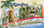 "Greetings from Florida, ""The Land of Sunshine"" Postcard Postcards, Greetings Cards, Art Prints, Canvas, Framed Pictures, T-shirts & Wall Art by Vicente Alban"