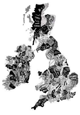 British Isles Map (Black and White) by Ruggero Tommasini - print