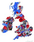 British Isles Map (Red, White and Blue) Fine Art Print by Monster Riot