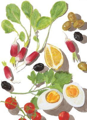 Summer Cooking by Elizabeth David, Frontis illustration Fine Art Print by Sophie MacCarthy