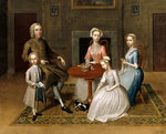 Group portrait, possibly of the Brewster family, in a domestic interior Fine Art Print by Alexander Chisholm