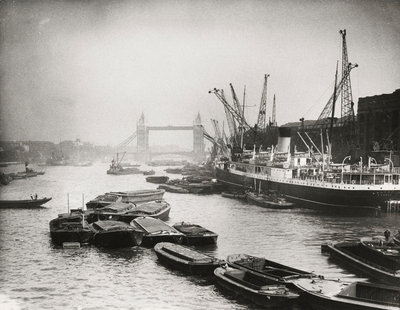 View of the busy Thames looking towards Tower Bridge, London Fine Art Print by Anonymous