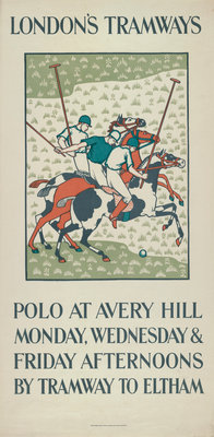 Polo at Avery Hill, London County Council (LCC) Tramways poster Fine Art Print by Howard Spear