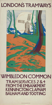 Wimbledon Common, London County Council (LCC) Tramways poster Fine Art Print by GW Widmer