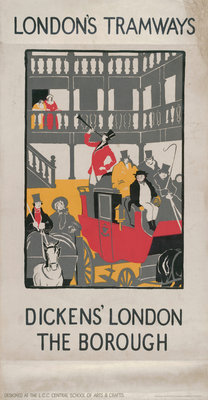 Dickens' London - The Borough, London County Council (LCC) Tramways poster Fine Art Print by I Jephson