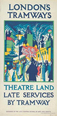 Theatre Land - Late Services by Tramway, London County Council (LCC) Tramways poster Fine Art Print by FW Farleigh
