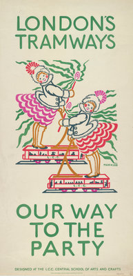 Our Way to the Party, London County Council (LCC) Tramways poster Fine Art Print by Maud Klein