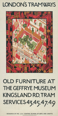 Old Furniture At The Geffrye Museum, London County Council (LCC) Tramways poster Fine Art Print by Howard Spear