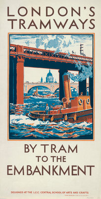 By Tram to the Embankment, London County Council (LCC) Tramways poster Fine Art Print by Herbert Kerr Rooke