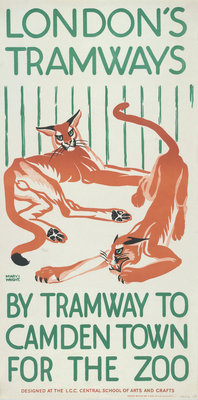 By Tramway to Camden Town for the Zoo, London County Council (LCC) Tramways poster Fine Art Print by Mary I Wright