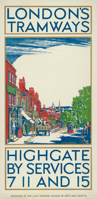 Highgate by Services 7, 11 and 15, London County Council (LCC) Tramways poster Fine Art Print by Oliver Burridge