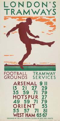 Football Grounds, Tramway Services, London County Council (LCC) Tramways poster Fine Art Print by BE Stall