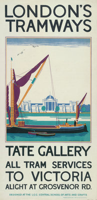 Tate Gallery, London County Council (LCC) Tramways poster Fine Art Print by Lance Cattermole