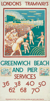 Greenwich Beach and Pier, London County Council (LCC) Tramways poster Fine Art Print by Morris Kestelman
