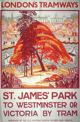 St James' Park to Westminster or Victoria by Tram, London County Council Tramways poster Fine Art Print by Frederick Graham