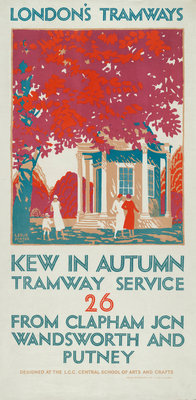 Kew in Autumn, London County Council (LCC) Tramways poster Fine Art Print by Leslie Porter