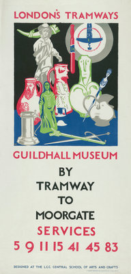 Guildhall Museum by Tramway to Moorgate, London County Council (LCC) Tramways poster Fine Art Print by JF