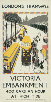 Victoria Embankment, London County Council (LCC) Tramways poster Fine Art Print by Monica Rawlins