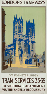 Westminster Abbey, London County Council (LCC) Tramways poster Fine Art Print by GM Norris