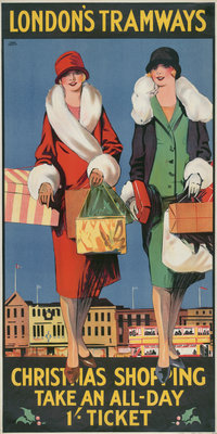 Christmas Shopping, Take an All-Day 1/- Ticket, London County Council (LCC) Tramways poster Fine Art Print by Tony Castle