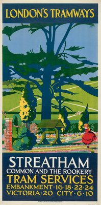 Streatham Common and the Rookery, London County Council (LCC) Tramways poster Fine Art Print by Tony Castle
