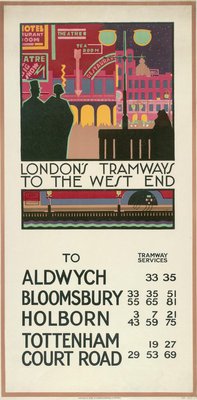 London's Tramways to the West End, London County Council (LCC) Tramways poster Fine Art Print by P Irwin Brown
