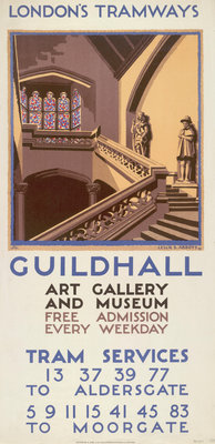 Guildhall Art Gallery and Museum, London County Council (LCC) Tramways poster Fine Art Print by Leslie S Abbott