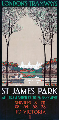 St James' Park, London County Council (LCC) Tramways poster Fine Art Print by Ralph & Brown Studios