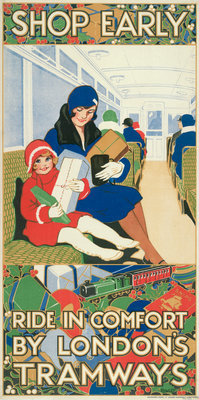 Shop Early, Ride in Comfort by London's Tramways, London County Council Tramways poster Fine Art Print by Rowles